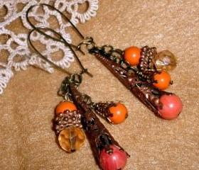 Beaded dangle earrings - Orange Elegance - Dramatic