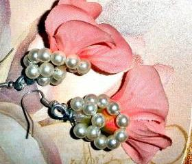 silk flower earrings vintage pearls Bridal bridesmaid multiples available