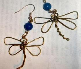 FREE SHIPPING Wire Dragonfly earrings with Lapis Lazuli