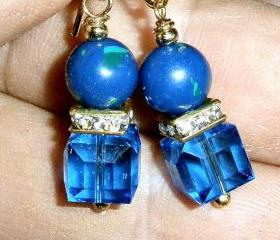 Swarovski cube earrings with rhinestones and Lapis Lazuli