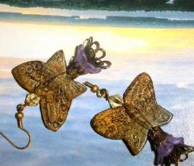 Stone butterfly earrings with Czech crystalsand purple flower beads