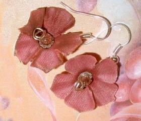 Silk flower earrings with Swarovski Crystals and sterling silver cute lightweight