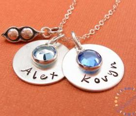 Personalized necklace: two PEAS in a POD sterling silver necklace with names TWINS