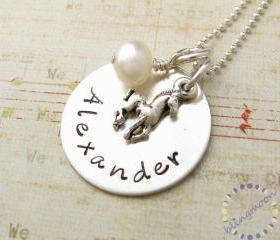 Horse Charm Personalized Necklace: Handstamped birthstone pony