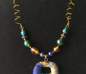 Beaded necklace FREE SHIPPING polymer clay donut