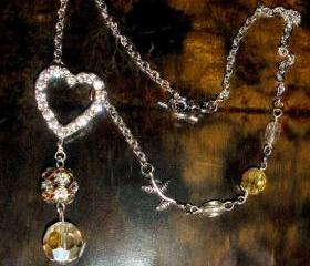 Rhinestone Heart necklace OOAK with vintage crystal beads FREE SHIPPING