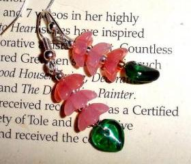 Czech glass stacked flower earrings in pink and green