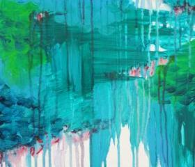 Gorgeous Blue Monsoon Rain Abstract Acrylic Painting, FREE SHIPPING Bold Royal Navy Ultramarine Blue Winter Storm Clouds