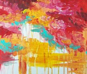 Gorgeous Bold Original Acrylic Painting FREE SHIPPING Autumn Sky 11 x 14 Fall Burgundy Crimson Ochre Cloud Xmas Gift Under 100 Decor
