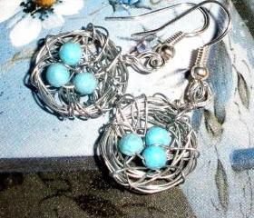 Birds nest earrings - wire and beads with silver plated earwires