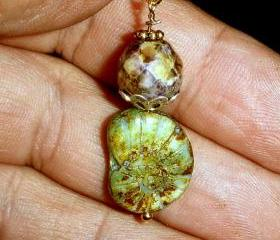 Gorgeous green earrings Czech glass fossil with gold plate