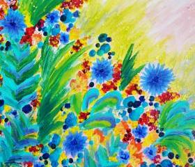 Beautiful Original Floral Painting, FREE SHIPPING 11 x 14 Bright Bold Rainbow Colorful Flowers Gift Under 100 For Her Christmas 2012