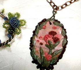 Pink floral necklace - Pink peony polymer clay brass chain with Czech crystals
