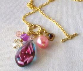 Glass pendant necklace FREE SHIPPING with heart charm on gold plated chain