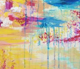 Beautiful Rainbow Painting, FREE SHIPPING Original Abstract Acrylic, New for Fall 2012 Autumn Art Gift for Her Christmas Gift