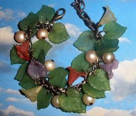 flower bracelet FREE SHIPPING Mori Girls or Woodland flower and leaves