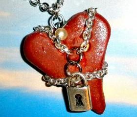 Chained heart necklace on silver plated chain - Steampunk Goth polymer clay heart pendant