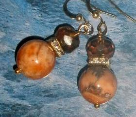 Dramatic Jasper and Czech glass earrings