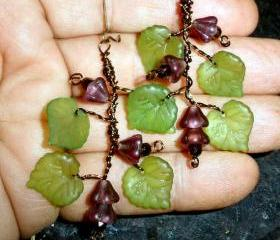 Grape Vine earrings - bronze wire wrapped