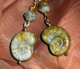 Czech glass earrings FREE SHIPPING gold and seafoam green - faux Ammonite fossils