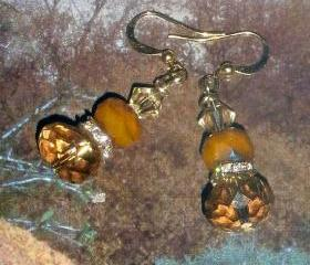 Gorgeous rhinestone earrings Czech glass and Swarovski with gold plate