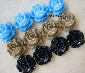 12PCS - Cabbage Rose Flower Cabochons - 15mm - Resin - Blue, Latte and Black - Findings by ZARDENIA