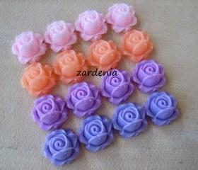 16PCS - Cabbage Rose Flower Cabochons - 15mm - Resin - Pastel Mix - Findings by ZARDENIA