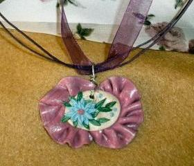 Ruffled pendant necklace Polymer Clay Flower Embroidery