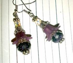 Beaded flower earrings with silver plated earwires