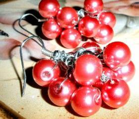 Large cluster earrings with pink glass pearls