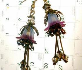 Long dangle earrings FREE SHIPPING smokey crystals and flower beads