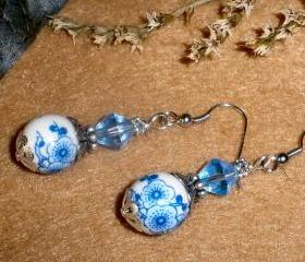 Porcelain beaded earrings Blue Flowers