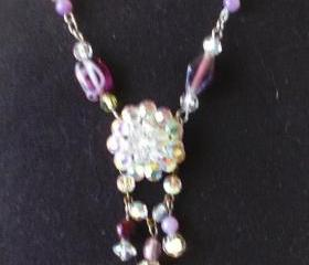 vintage rhinestone necklace Lavender Extravanganza
