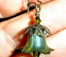 Olive green earrings FREE SHIPPING bell flowers with brass and Swarovski crystals