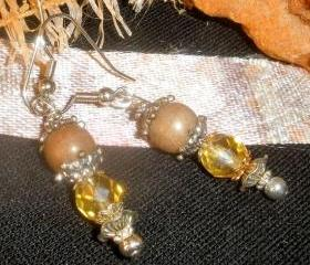 beaded dangle earrings in champagne and golden topaz