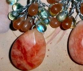 Jade earrings - Gorgeous with orange and teal glass teardrops