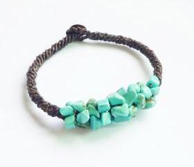 Cluster of Turquoise Blue Bracelet - Mix of Turquoise Blue Chip Beads woven with Black Wax Cord Bracelet/Bangle - Gift under 15