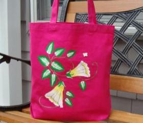 Magenta Tote Bag With Yellow and White Flowers