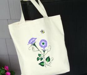 Canvas Tote Bag Purse With Lavender Morning Glories