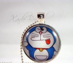 Doraemon cartoon glass pendant necklace