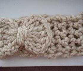 cream crochet earwarmer