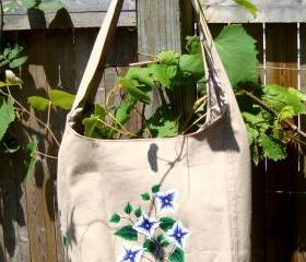 Painted Khaki Hobo Bag With Blue and White Flowers