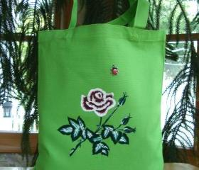 Green Tote Bag with Red Rose and a Ladybug