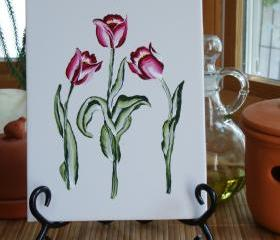Ceramic Tile Trivet / Spoon Rest with Red and white Tulips
