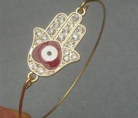 Hamsa Hand Bangle Bracelet Style 7