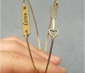 Love and Arrow Bangle 2 Bracelet Set
