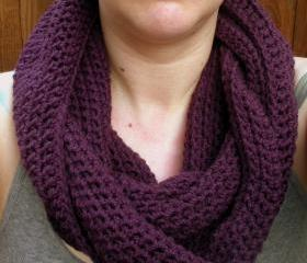 Crochet Cowl Snood neckwarmer scarf in deep purple, ready to ship.