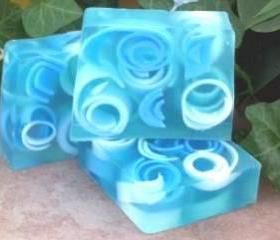 Raindrops Swirly Curly Glycerin Soap, Handmade, fresh fragrance