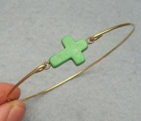Green Turquoise Cross Brass Bangle Bracelet
