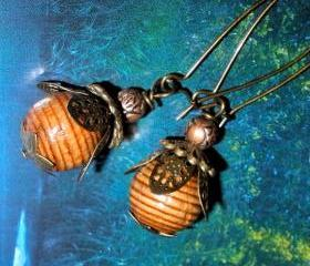 Woodsy acorn earrings wooden with copper and brass